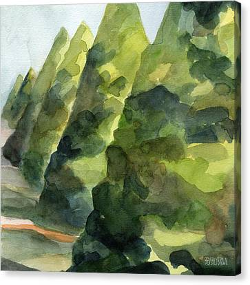 Topiary Parc St Cloud Watercolor Painting Of France Canvas Print by Beverly Brown