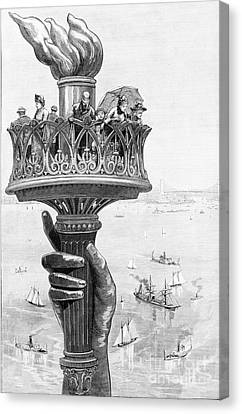 Torch Of Statue Of Liberty, 1885 Canvas Print by Science Source