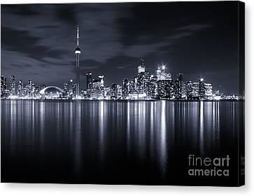 Toronto Skyline Monochrome Canvas Print by Matt  Trimble