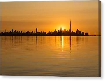 Toronto Skyline - Three Suns Over Liquid Silk Canvas Print by Georgia Mizuleva