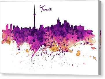 Toronto Watercolor Skyline Canvas Print by Marian Voicu
