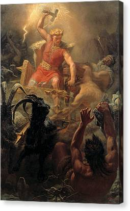 Tor's Fight With The Giants Canvas Print by Marten Eskil Winge