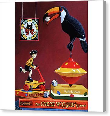 Toucan Play At This Game Canvas Print by Linda Apple