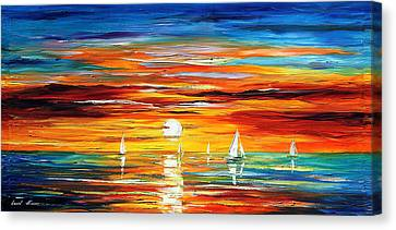Touch Of Horizon 2 - Palette Knife Oil Painting On Canvas By Leonid Afremov Canvas Print by Leonid Afremov