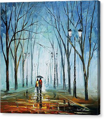 Touching Fog - Palette Knife Oil Painting On Canvas By Leonid Afremov Canvas Print by Leonid Afremov