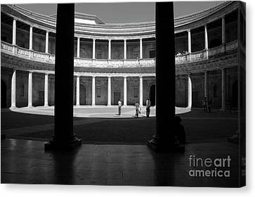 Tourists Inside A Courtyard At The Palace Of Charles V At Alhambra Canvas Print by Sami Sarkis