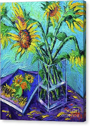 Tournesols Pour Vincent Canvas Print by Mona Edulesco