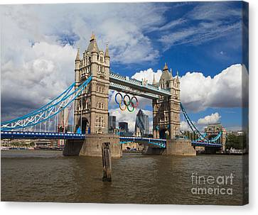 Tower Bridge And The Olympic Rings Canvas Print by Pete Reynolds