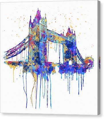 Tower Bridge Watercolor Canvas Print by Marian Voicu
