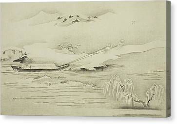 Towing A Barge In The Snow Canvas Print by Kitagawa Utamaro