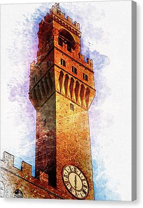 Town Hall Tower In Florence - By Diana Van Canvas Print by Diana Van