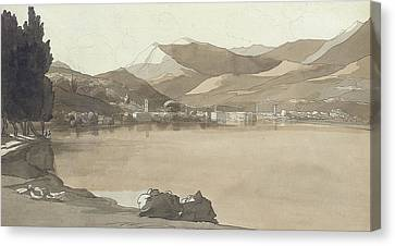 Town Of Lugano, Switzerland, 1781  Canvas Print by Francis Towne