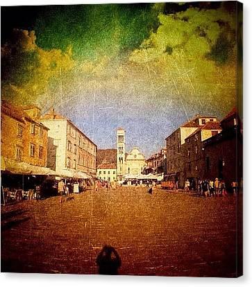 Town Square #edit - #hvar, #croatia Canvas Print by Alan Khalfin