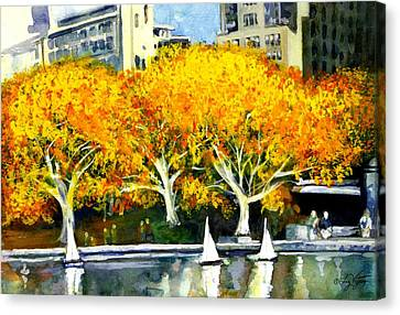 Toy Boats In The Park Canvas Print by Liz Viztes