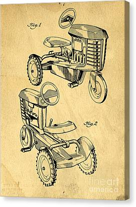 Toy Tractor Patent Drawing Canvas Print by Edward Fielding