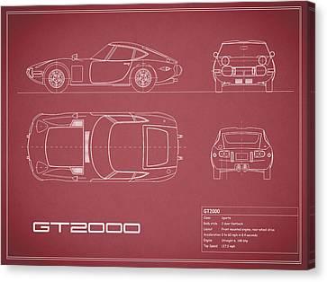 Toyota Gt2000 Blueprint Red Canvas Print by Mark Rogan