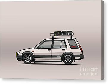 Toyota Tercel Sr5 4wd Slammed Wagon Al25 White Canvas Print by Monkey Crisis On Mars