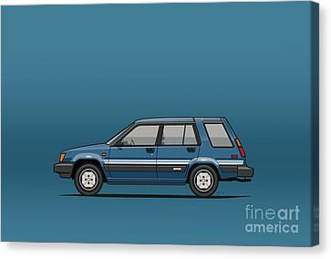 Toyota Tercel Sr5 4wd Wagon Al25 Blue Canvas Print by Monkey Crisis On Mars