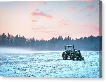Tractor In A Snowy Field Durham Nh Canvas Print by Eric Gendron
