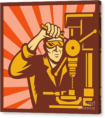 Trade Worker Drill Canvas Print by Aloysius Patrimonio
