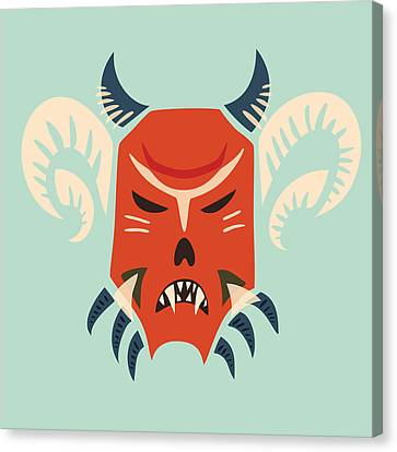 Traditional Bulgarian Evil Monster Kuker Mask Canvas Print by Boriana Giormova