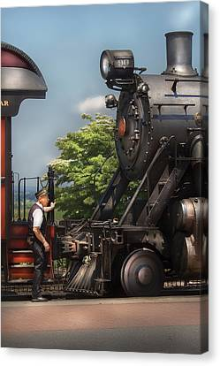 Train - Engine - Alllll Aboard Canvas Print by Mike Savad