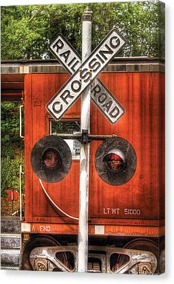 Train - Yard - Railroad Crossing Canvas Print by Mike Savad
