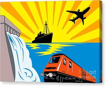 Train Boat Plane And Dam Canvas Print by Aloysius Patrimonio