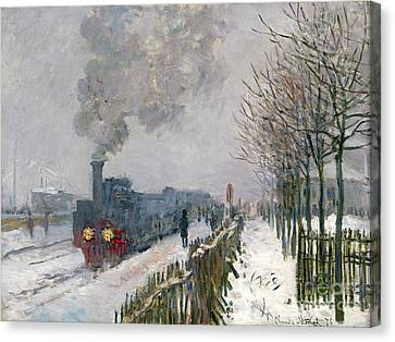 Train In The Snow Or The Locomotive Canvas Print by Claude Monet