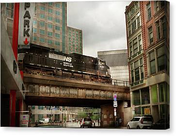 Train - Pittsburg Pa - The Industrial City Canvas Print by Mike Savad