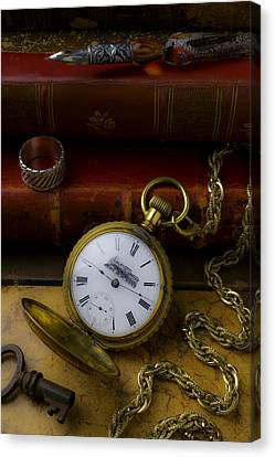 Train Pocket Watch And Old Books Canvas Print by Garry Gay