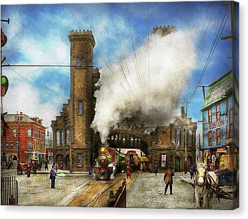 Train Station - Boston And Maine Railroad Depot 1910 Canvas Print by Mike Savad