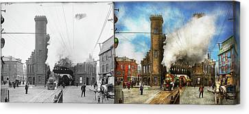 Train Station - Boston And Maine Railroad Depot 1910 - Side By Side Canvas Print by Mike Savad