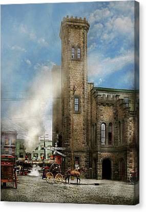 Train Station - Look Out For The Train 1910 Canvas Print by Mike Savad