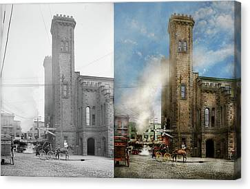 Train Station - Look Out For The Train 1910 - Side By Side Canvas Print by Mike Savad