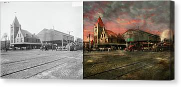 Train Station - Ny Central Railroad Depot 1905 - Side By Side Canvas Print by Mike Savad