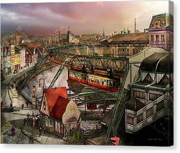 Train Station - Wuppertal Suspension Railway 1913 Canvas Print by Mike Savad