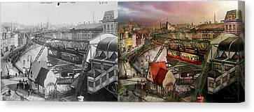 Train Station - Wuppertal Suspension Railway 1913 - Side By Side Canvas Print by Mike Savad