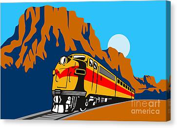 Train Traveling With Canyon Canvas Print by Aloysius Patrimonio