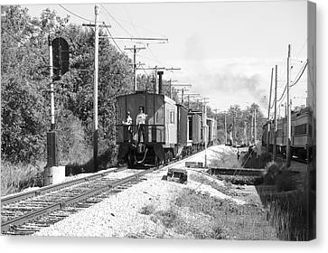 Trains Caboose Bw Canvas Print by Thomas Woolworth