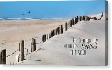 Tranquility Of The Beach Canvas Print by Lori Deiter