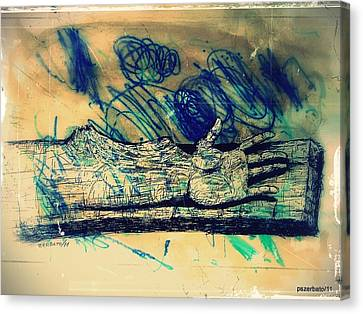Transforming A Piece Of Wood In Man Canvas Print by Paulo Zerbato