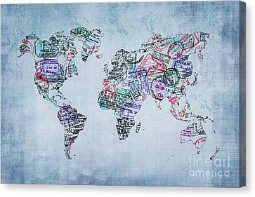 Traveler World Map Canvas Print by Delphimages Photo Creations