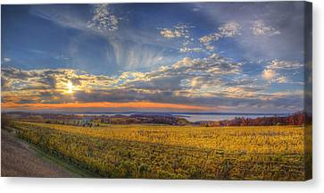 Traverse City From Old Mission At Sunset Canvas Print by Twenty Two North Photography