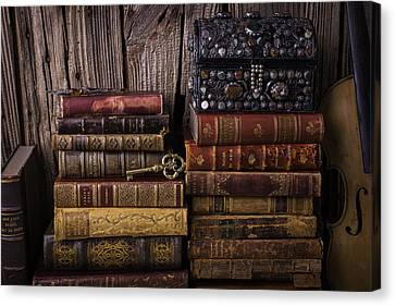 Treasure Box On Old Books Canvas Print by Garry Gay