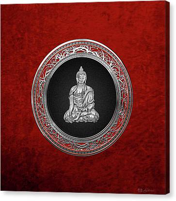 Treasure Trove - Silver Buddha On Red Velvet Canvas Print by Serge Averbukh