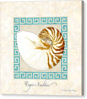 Treasures From The Sea - Tiger Nautilus Shell Canvas Print by Audrey Jeanne Roberts