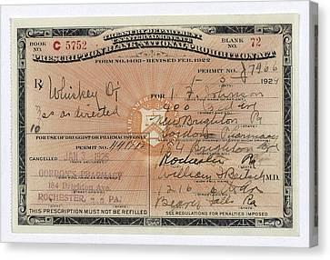 Treasury Dept Prohibition Whiskey Prescription  1924 Canvas Print by Daniel Hagerman