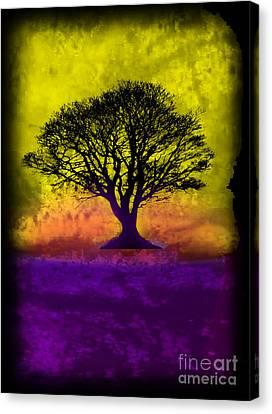 Tree Of Life - Yellow Sunburst Sky Canvas Print by Robert R Splashy Art