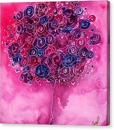 Tree Of Life Pink Swirl Canvas Print by Christy  Freeman